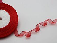 "50 Yards 3/8"" (10mm) Red Wedding Crafts Sheer Organza Ribbon"