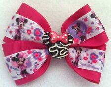 "Girls Hair Bow 4"" Wide Minnie Mouse Ribbon Zebra Minnie Flatback Alligator Clip"