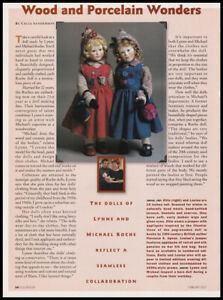 Wood and Porcelain dolls 2-page print article 2001