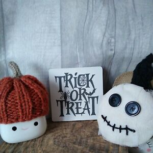 mini sign ~ trick or treat ~ tiered tray ~ Halloween ~ Rae Dunn inspired decor