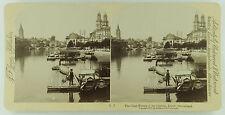 Underwood & Underwood Stereoview of the Limmat River & Zurich, Switzerland 1897