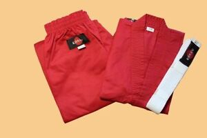 KANKU NEW Red Karate Uniform, Gi 7.5 oz Adult Kids w/White belt Tae Kwon Do