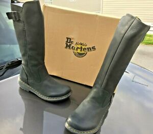 Dr Martens Vaux High New Moll black burnish mirage leather boots UK 4 EU 37 US 6