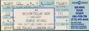 GEORGE MICHAEL UNUSED FULL CONCERT TICKET NOT STUB 10/18/91 PALACE AUBURN HILLS