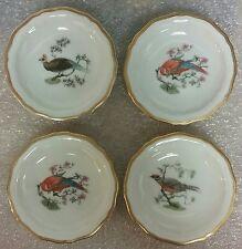 Four Rosenthal Bird Butter Pats Chippendale Shape Gold Trim 2 Parrots 2 Pheasant