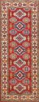 Tribal Vegetable Dye Super Kazak RED Oriental Runner Rug Wool Hand-knotted 3'x8'