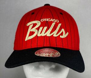 Mitchell and Ness NBA Chicago Bulls Team Script Striped Snapback Hat, Cap, New