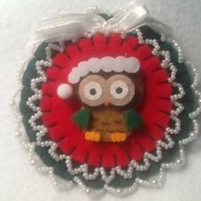 owl decorations ornaments red green bird christmas santa hat