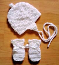 Handmade Hand Crocheted Baby Unisex Hat/Helmet/Bonnet & Mitts various colours