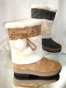 Mollige Winter Stiefel Beige Voll Gefüttert  Gr. 40 (Neuwertig)
