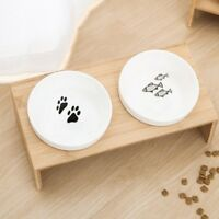 Double Bowl Pet Dog Cat Food Water Feeder Stand Raised Ceramic Dish Wooden Table