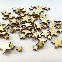 50 x Wooden MINI MIXED STARS Embellishments weddings craft card making scrapbook