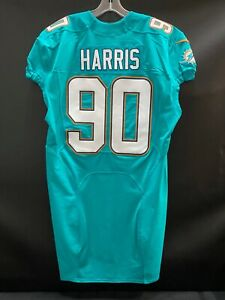 #90 CHARLES HARRIS MIAMI DOLPHINS TEAM ISSUED AUTHENTIC NIKE JERSEY YR-2015 SZ46