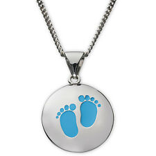Sterling Silver Boy's Foot Print Charm Pendant Necklace Ladies Girls Mum Mother