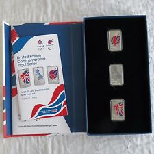 UK 2012 Olympic Team GB e paraolimpici GB 3 X Prova SILVER LINGOTTO Set-Completo