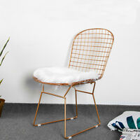Modern Minimal Golden Mesh Wide Side Linear Dinner Chairs Lounge Cafe Patio Seat
