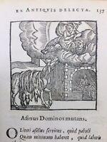 L'âne et Les Propriétaires 1682 Rare Gravure sur Bois Fables d'Esope