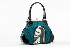 Rock Rebel Universal Monsters Lily Munster Teal Black Lace Kiss Lock Purse