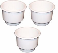 3-Pack WHITE Plastic Cup Holder Boat RV Car Truck Inserts Large Size Jumbo