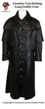 Lionstar Van Helsing Vampire Gothic Steampunk Vintage Real Leather Long Coat