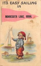 """It's Easy Sailing"" in Minnesota Lake MN~Boy Points to Sailboat~1914 Pennant PC"