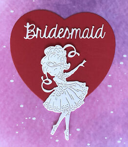 Bridesmaid Toppers DIY Card Making 4 x 2 White Wedding 8 Embellishments