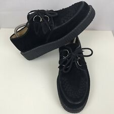 GEORGE COX D-Ring Creeper Suede Shoes Size UK 10 Men's In Black Lace Up