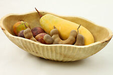 Wooden Bowl Hand Carved Scalloped Oval Fruit Bread Rolls Snacks Potpourri