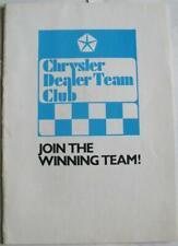 CHRYSLER Dealer Team Club Sales Brochure 1973