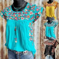 Summer Womens Casual Round Neck Short Sleeve T Shirt Floral Tops Loose Blouse