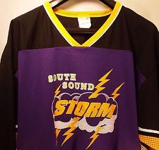 South Sound Storm Men's XL Yellow Purple Hockey Jersey QUINN #11