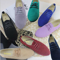 NEW WOMEN LADIES CASUAL LOW HEEL LACE UP OXFORD LOAFERS SUEDE SHOES SIZE 2.5-6.8