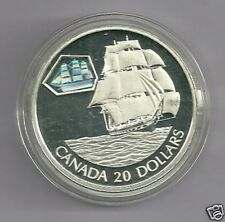 2001 CANADA $20 Dollar Transportation Hologram MARCO POLO Sail Boat Proof Coin