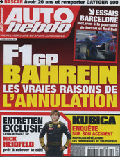 AUTO HEBDO 1793 / 23 FEV 11 : WRC SUEDE DAYTONA 500 KUBICA BARCELONE F1