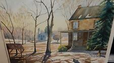 "FLAVIA O.SCHAFF ""THE BACKYARD"" LARGE ORIGINAL WATERCOLOR PAINTING"