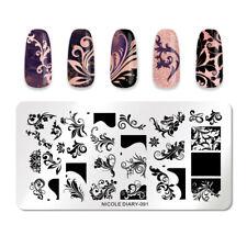 Nicole diario para Uñas Stamping Placas Plantilla de sello de uñas Rectángulo herramientas 091