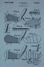 USA Patent Drawing BARNHART Wooden Golf Club MOUNTED PRINT 1936 Gift
