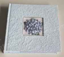 Fotoalbum, Einsteckalbum f. 200 Fotos, handgeschöftes Papier, Hortensie, Blau