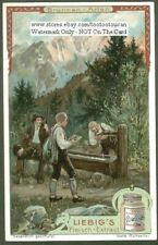 Alps Mountain Hikers At A Well c1910 Trade Ad Card