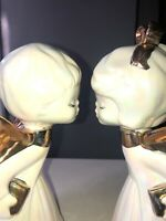 VTG MCM 50'S-60S 2 PC SET CHRISTMAS KISSING ANGEL GIRL&BOY IRIDESCENT WHITE&GOLD