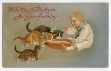 New listing Circa 1913 Birthday Cute Cats British Antique postcard