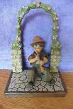Vintage ANRI wooden carved figurine boy playing horn flute under archway PARTS