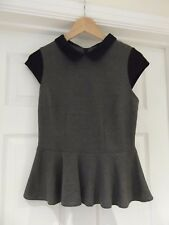 ASOS Peplum Top Grey/Black Stretch Jersey Pan Collar Cap Sleeves UK Size 10