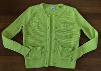 Cabi Lime Green Loren Cardigan Sweater Medium Button Front Chunky Knit #5011
