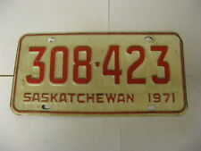 1971 71 Saskatchewan SK Canada License Plate 308-423