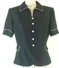 Kasper womens black top short sleeve blazer 100% silk top size 10 P