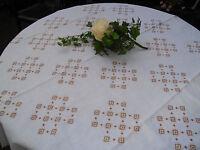 Tischdecke Kreuzstickerei Baumwolle Leinen Handarbeit weiß braun ca.130 x 130 cm