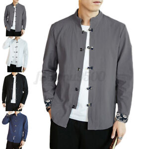 Mens Linen Cotton Shirt Retro Chinese Style Long Sleeve Casual Formal Party Tops