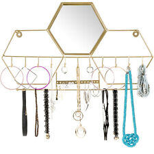 Wall-Mounted Jewelry Storage Organizer: Metal Holder Hanging Mirror Display