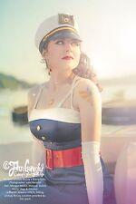 Long dark blue captain sailor dress pinup full length medium sailing free gift!